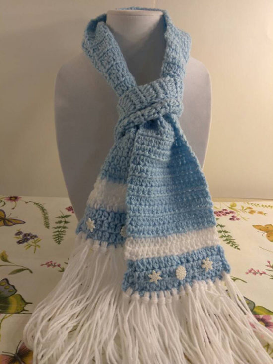 "Disney Collection - kids ""Frozen"" Elsa inspired scarf - crocheted blue scarf snowflakes"