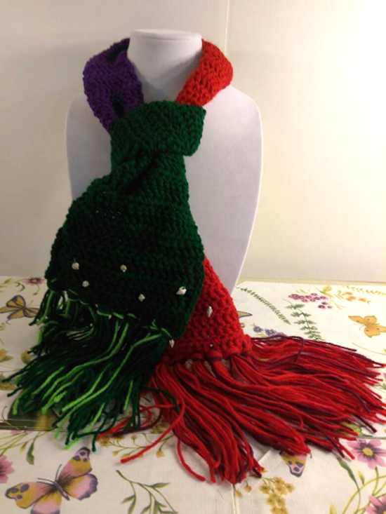 """Disney Collection - kids """"Little Mermaid"""" Ariel inspired scarf - crocheted scarf, red, purple, green, shell beads"""