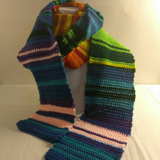 Extra Long Multi Color Temperature Scarf Adult Size On Craftisart