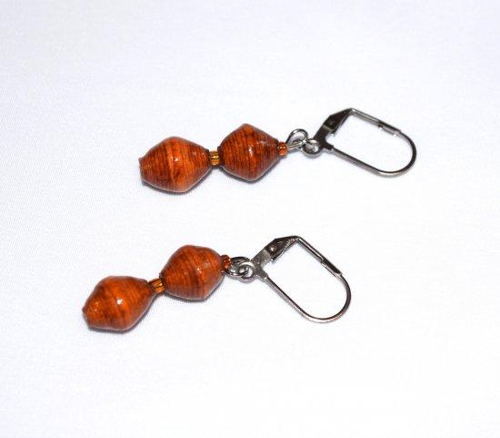 Handmade brown earrings, brown and orange rolled paper beads, orange seed beads