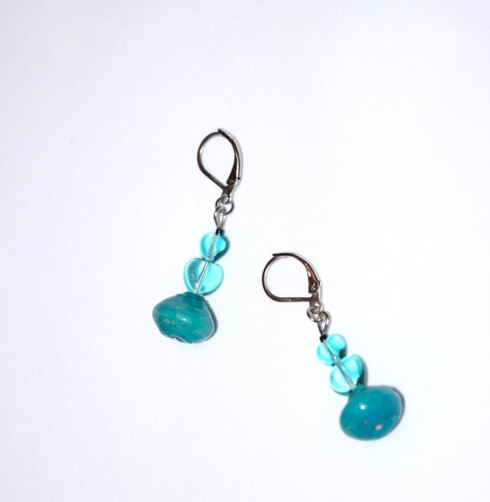 SOLDHandmade aqua earrings, two aqua glass hearts and rolled paper bead