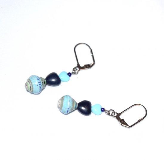Handmade blue hearts earrings, dark and light blue heart beads, light blue paper bead