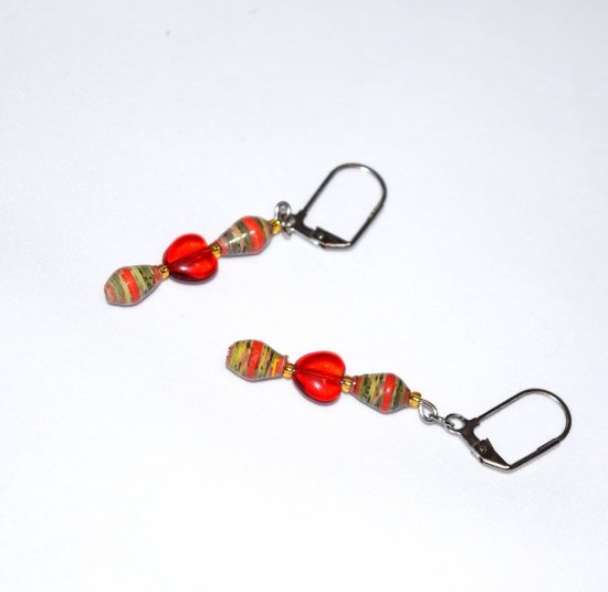 Handmade red earrings, red glass heart, red and yellow rolled paper ovals, seed beads