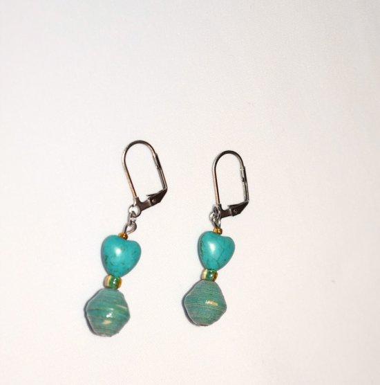 Handmade teal green earrings, teal resin heart, rolled paper bead, green E bead