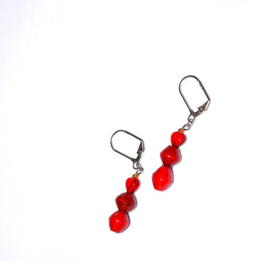 Handmade red earrings, red glass heart, rolled paper beads