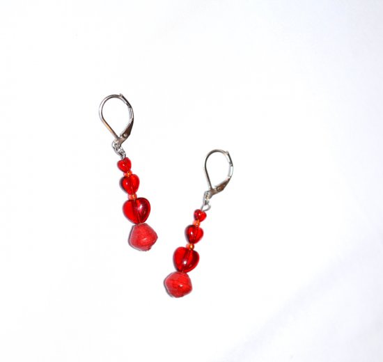 Handmade red earrings, 3 red hearts and rolled paper bead, rainbow seed beads