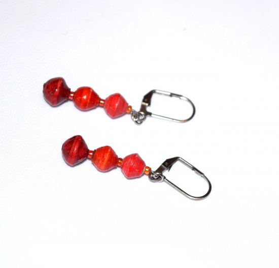 Handmade red earrings, three rolled paper beads, seed beads