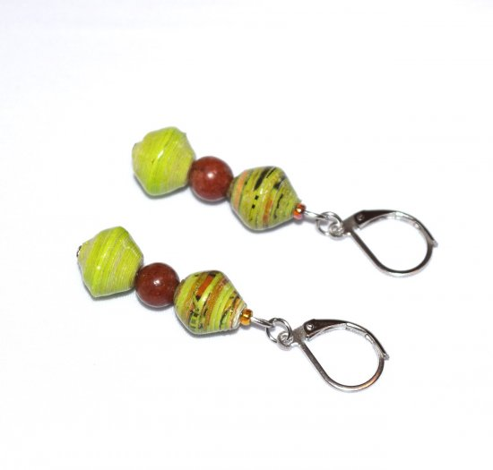 Handmade lime green earrings, green rolled paper and tigerskin jasper beads