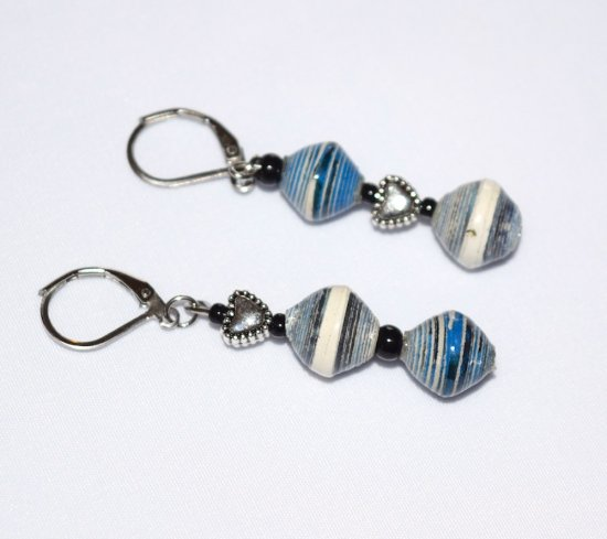 Handmade blue and white mismatched earrings, antiqued silver heart,  blue and white rolled paper and black seed beads