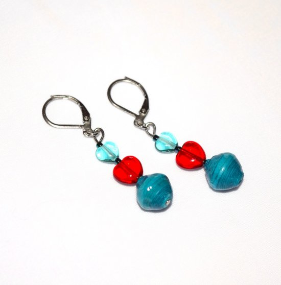 Handmade red and aqua earrings, aqua and red glass hearts, aquamarine rolled paper bead
