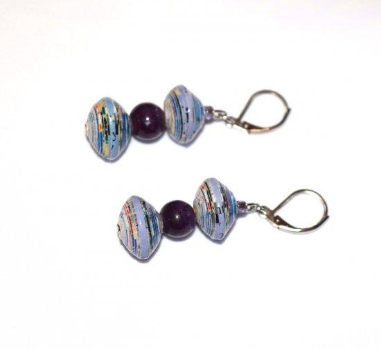 Handmade purple earrings, lilac paper beads, purple glass round and seed beads