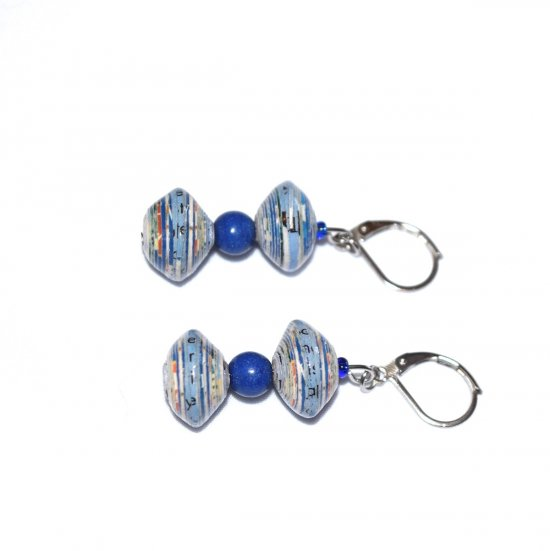 Handmade blue earrings, multicolored rolled paper and lapis blue resin beads