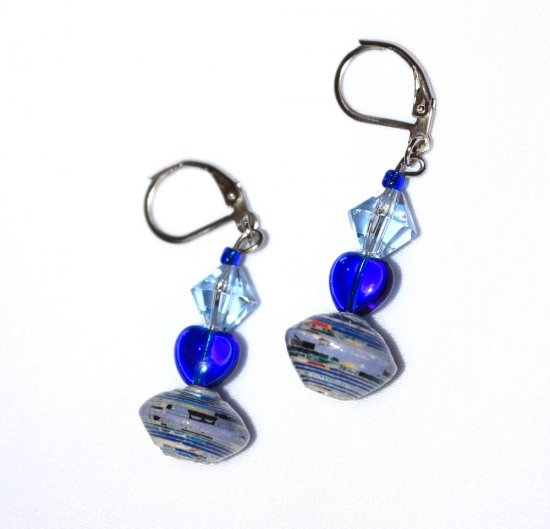Handmade blue earrings, blue glass heart, pale blue crystal, blue paper bead
