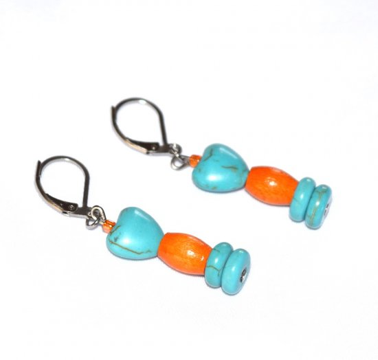 Handmade turquoise and orange earrings, turquoise resin heart and rondelles, vintage orange wood barrel
