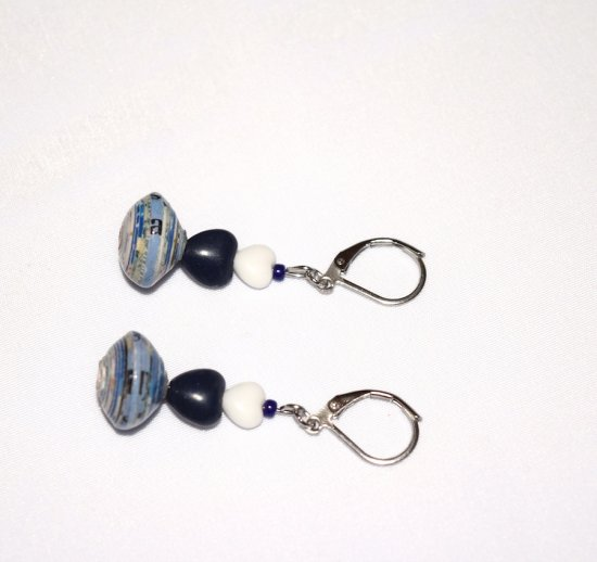 Handmade blue and white earrinngs, rolled paper bead, white glass and blue resin hearts