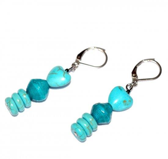 Handmade aqua earrings, turquoise resin heart and rondelles, aqua paper bead
