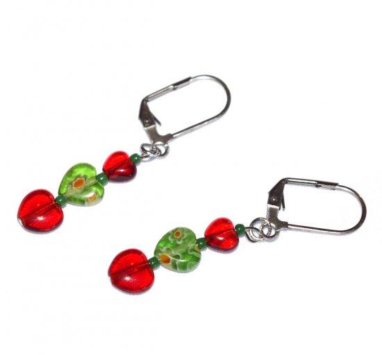 Handmade green millefiori earrinngs, red glass hearts, green millefiori heart, green seed beads