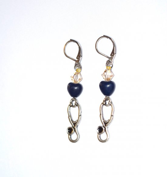 Handmade earrings with stethoscope charm, navy blue heart bead, pale honey Czech crystal