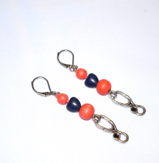 Handmade coral earrings with stethoscope charm, coral wood beads, navy blue heart bead