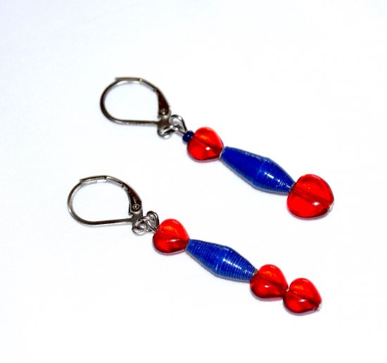 Handmade red and blue earrings, mismatched with red glass hearts and blue paper beads