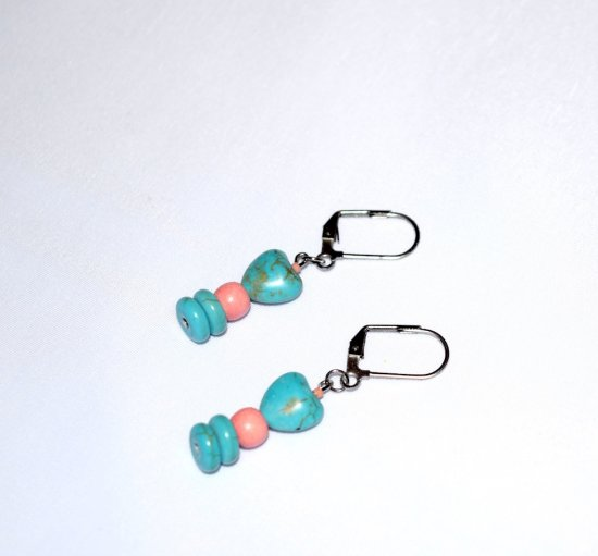 Handmade turquoise resin earrings, coral wood bead, turquoise resin heart and rondelles