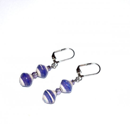 Handmde purple earrings, purple and white rolled paper beads, purple crystal beads