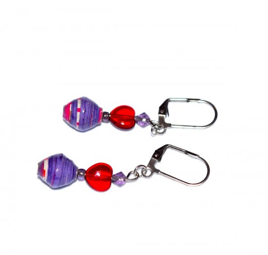 Handmade red and pruple earrings, red glass heart, purple and red paper bead, purple crystals