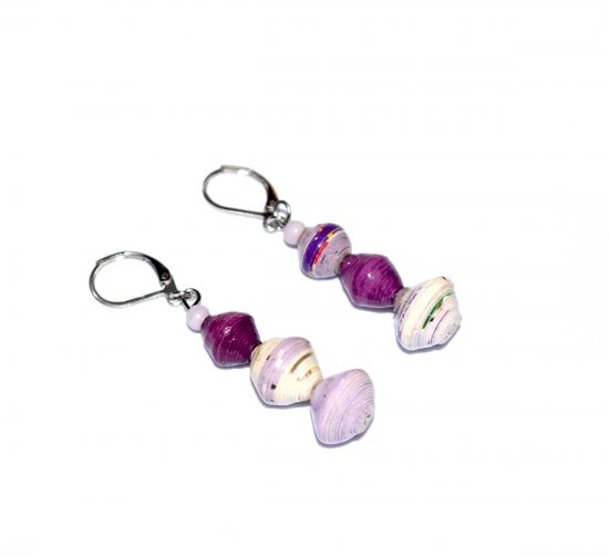 Handmade purple mismatched earrings, rolled paper and glass beads