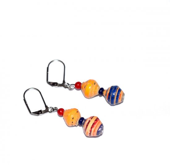 Handmade mismatched earrings, yelow, blue and red rolled paper beads, red and blue glass beads