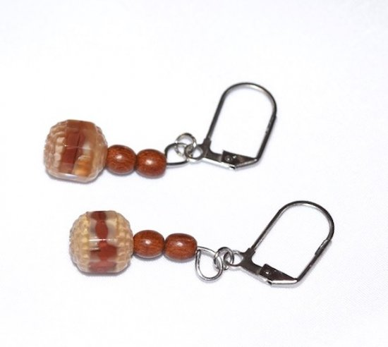Handmade brown earrings; brown, off-white and clear drum bead and brown wood beads