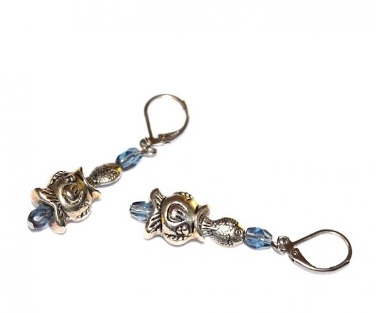 Handmade fish earrings, antiqued silver fish charms and smoky blue glass beads