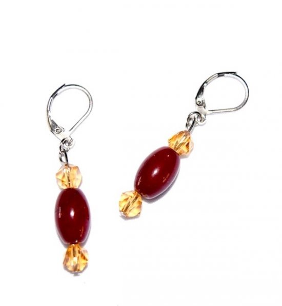 Handmade maroon & gold earrings, glass & Czech crystal beads