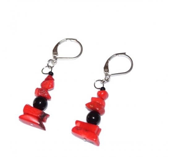 Handmade red earrings, red bamboo coral tips, black onyx and seed bead