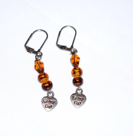SOLD Handmade cat lover earrings, tortoise shell glass beads, honey glass teardrop, love my cat charm