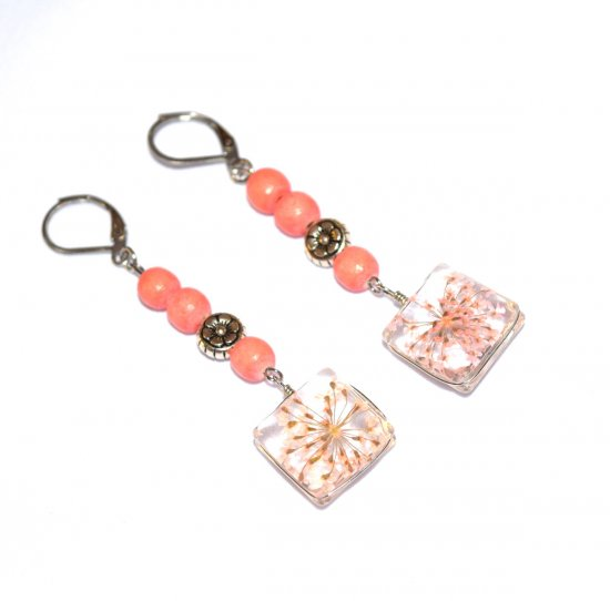 Handmade coral flower earrings, dried coral flowers in glass charm, coral wood, silver flower bead, coral wood beads