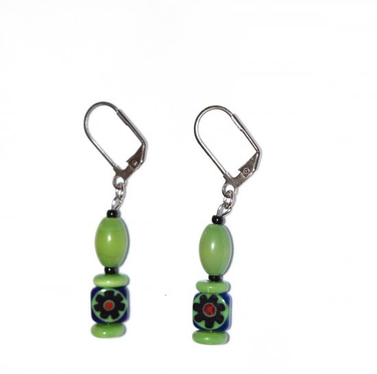 Handmade green earrings, green millefiori and cats eye beads