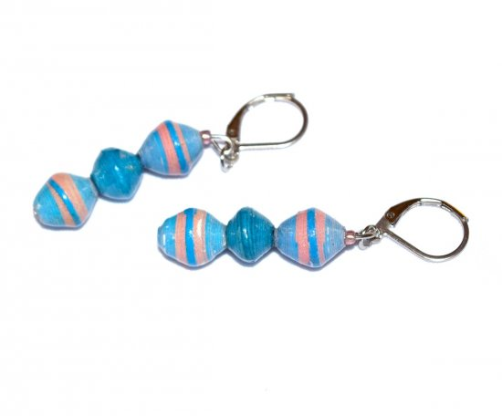 Handmade blue and pink earrings, rolled paper beads
