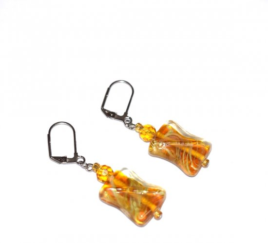 Handmade amber colored earrings, flat dogbone shape glass, seed beads  and faceted crystal rounds