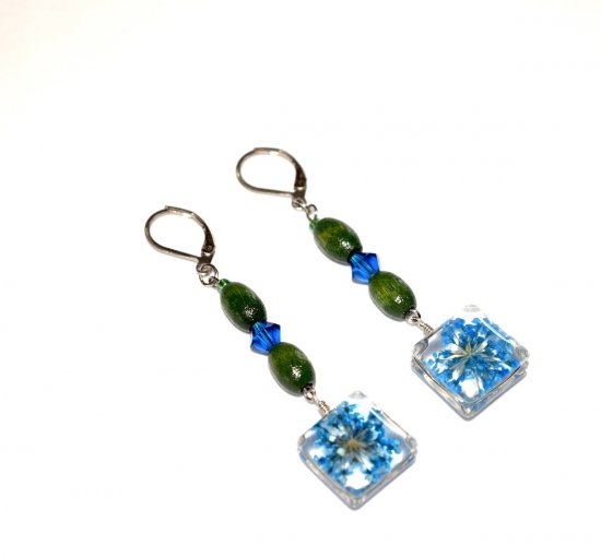 Handmade flower earrings, blue pressed flower charm, vintage green wood and blue Czech crystal