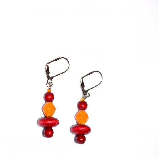 Handmade cranberry  and apricot earrings, cranberry wood beads, apricot paper bead