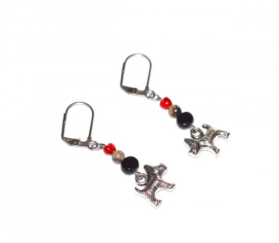 Handmade dog earrings, small red glass heart, grey agate bead, black glass coin bead, dog charm