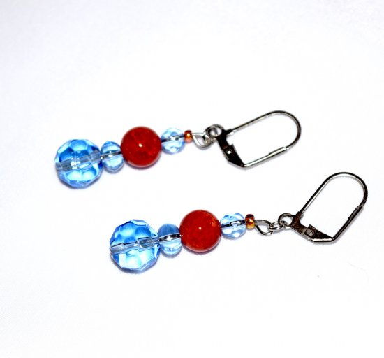 Handmade blue and orange earrings, fire agate bead, blue faceted crystal beads