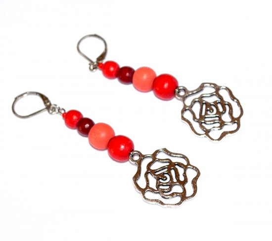 Handmade rose earrings, coral and red wood beads, rose charm