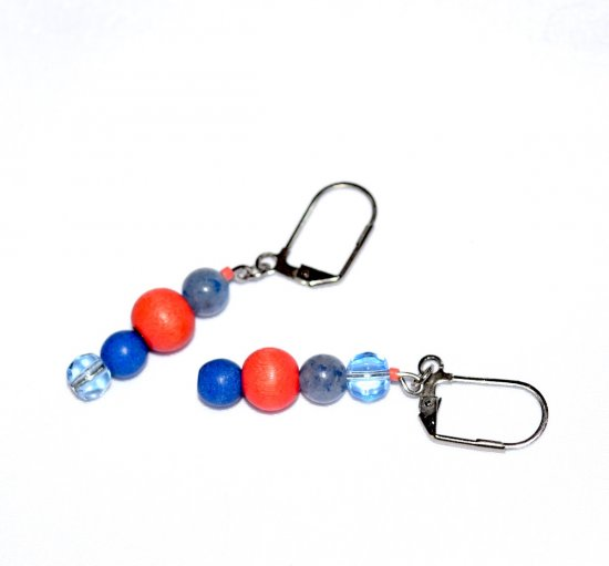Handmade blue and coral earrings,mismatched,  blue aventurine, resin and glass beads, coral wood bead