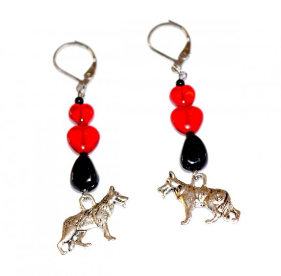 Handmade dog earrings, red glass hearts, black glass teardrop, German Shepherd Dog charm