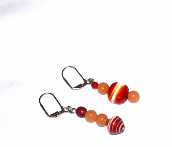 Handmade mismatched earrings, aventurine, glass, wood and paper beads in cranberry, pale orange and white