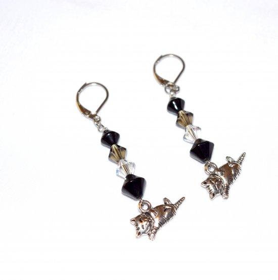 SOLDHandmade cat earrings, Czech faceted crystals, black glass bicones, reclining cat charm
