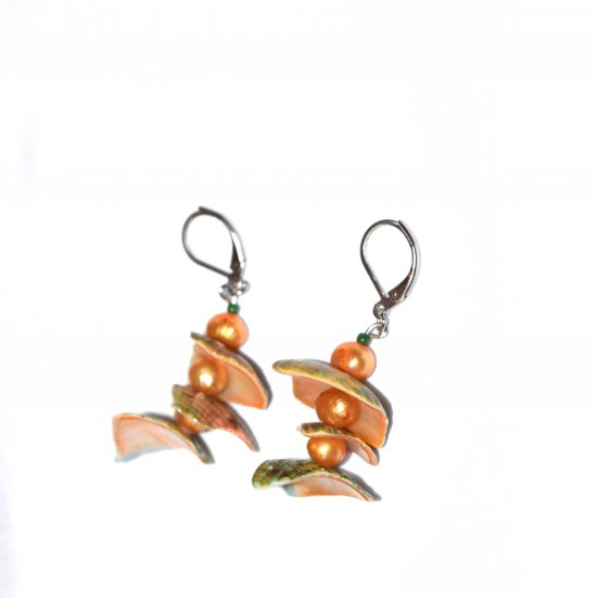 Handmade apricot pearl earrings, apricot pearl potato beads, green and apricot shell pieces
