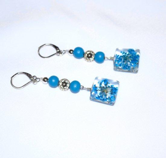 Handmade flower earrings, blue flowers in glass squares, blue wood beads, flower bead