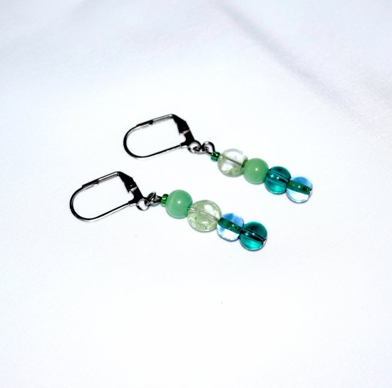 Handmade green earrings, mismatched lampworked green and teal glass beads, green streaked glas coin bead
